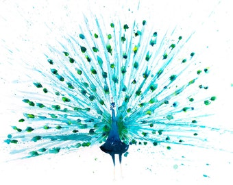 Peacock Watercolour Painting - Signed Limited Edition Print of my Original Abstract Peacock Watercolor painting - Wall Art