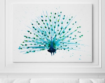 Peacock Print on Canvas Wall Art Peacock Peacock Watercolour Watercolor Painting of my Original Abstract Peacock Painting - Peacock Art