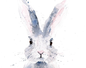 Mini Rabbit Painting - Signed Limited Edition Print of my Original Water Colour Painting of a Baby Rabbit or Bunny Wall Art