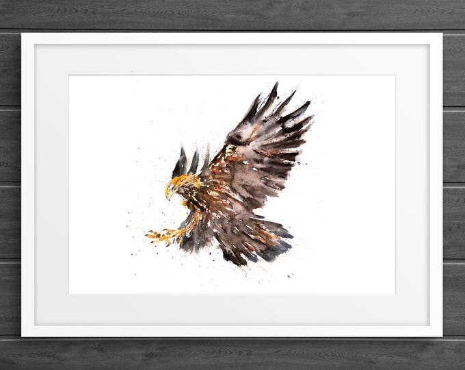 Eagle Watercolor Watercolour Painting - Hand Signed, Dated, Numbered and Embossed Limited Edition Print of my Eagle Art Watercolour Painting