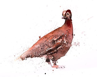 Grouse watercolour watercolor Painting No.1 - Hand Signed Limited Edition Print of my original grouse painting wall art