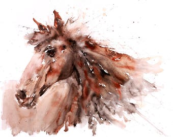 Horse No.5 - Signed Print of my original watercolour painting of a horse