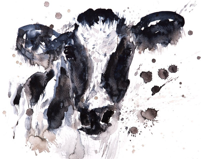 Cow Watercolor Watercolour Painting No.2 - Hand Signed Limited Edition Print of my Original  Black & White Wall Art -Home Decor Farm Animal