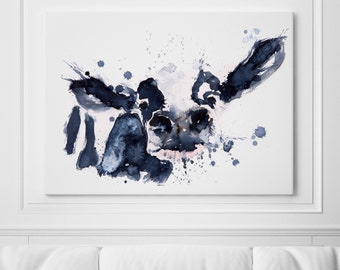 Cow Canvas Print Wall Art Cow Watercolour Painting of my Original Abstract Cow Painting Large Cow Watercolor Art