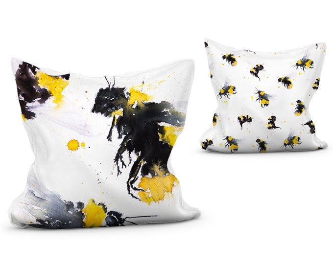 Bumble Bee Cushion vibrant animal print pillow with double sided design scatter cushion
