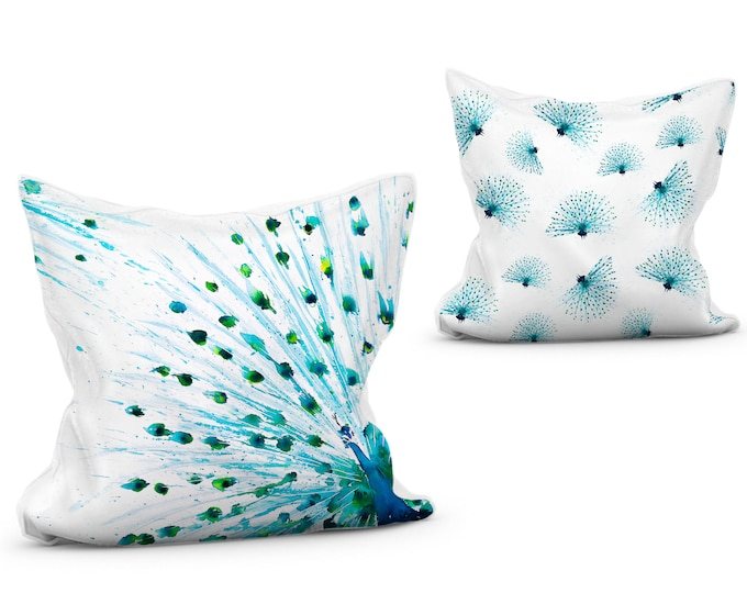 Peacock Scatter Cushion Vibrant Animal Print Pillow with Double Sided Design