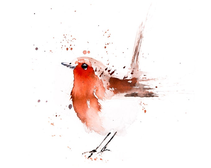Robin Painting No.2 - Robin Watercolour Painting -  Hand Signed Limited Edition Print of my Original Watercolour Painting of a Robin