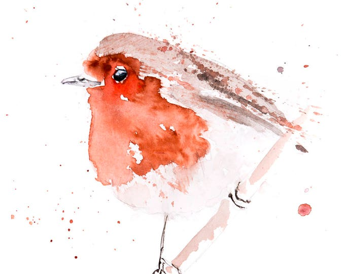 Fat Robin Red Breast No.3 - Hand Signed limited edition Print of my Original Watercolour Painting of a Robin -  Birds Wall Art Nursery Art