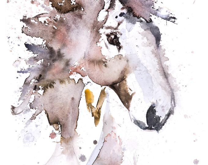Horse Watercolor Painting Watercolour Wall Art No.3 - Signed Limited Edition Print of my Original Watercolor Horse Painting