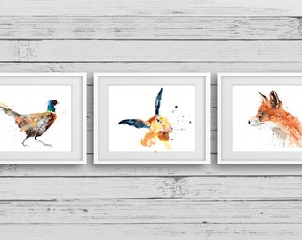 The Pheasant, The Fox and the Hare Paintings Trip - Pheasant Wall Art - Hand Signed, Dated, Numbered and Embossed Print of my Watercolours