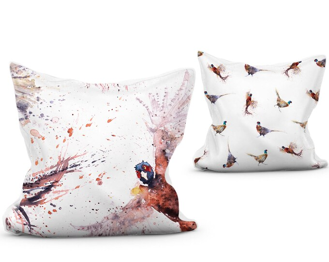 Pheasant Scatter Cushion Vibrant Animal Print Pillow with Double Sided Design