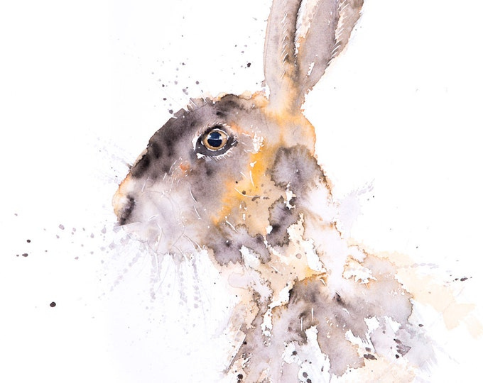 Warren Hare Watercolour  - Signed limited Edition Print of my Original Water Colour Painting of a Hare
