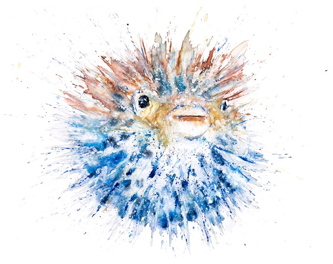 Puffer fish Watercolor Painting Watercolour Painting - Hand Signed Limited Print of my Original Watercolour Pufferfish Painting