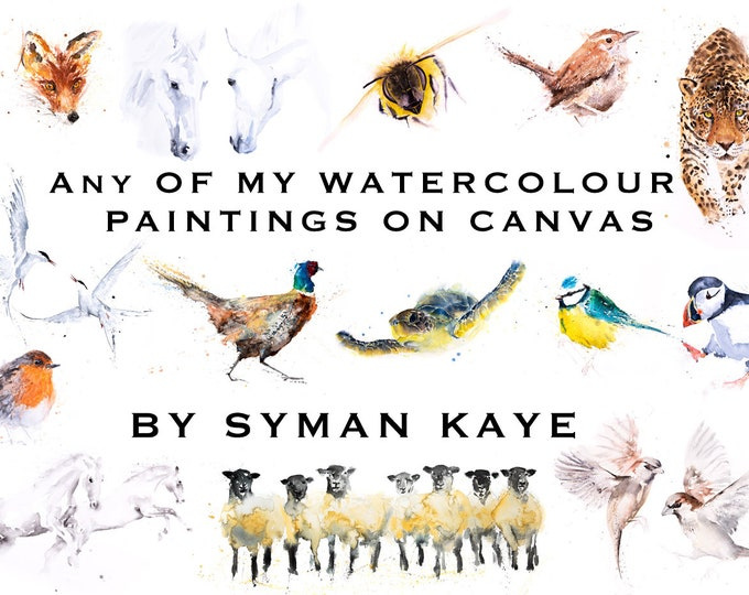 Any Watercolour print on Canvas by Syman Kaye, Hand signed Abstract Animal Watercolour Wall Art of my Original Abstract Painting