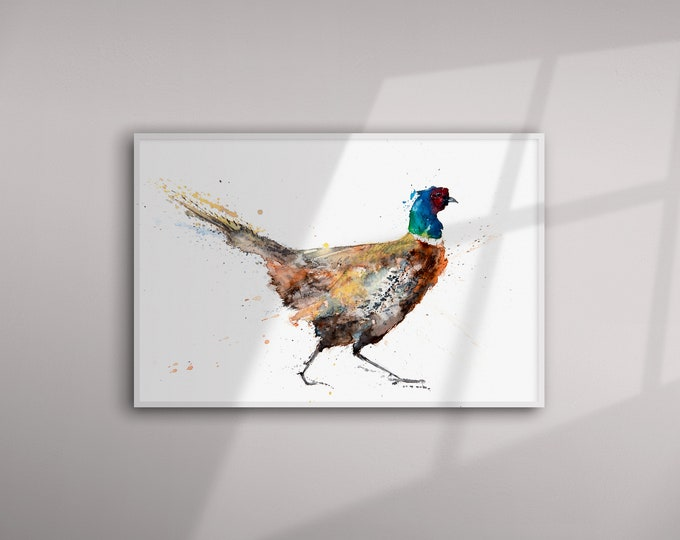 Pheasant Painting - Pheasant Art - Hand Signed Limited Edition Pheasant Print of My Original Watercolour Painting of a Pheasant - Numbered
