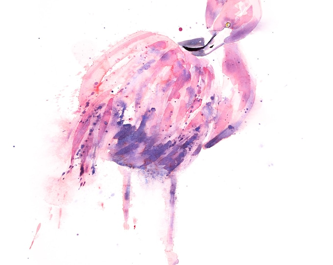 Flamingo Painting  - Flamingo Watercolour Print Hand Signed Limited Edition Print of my Original Abstract Pink Flamingo Watercolour Painting