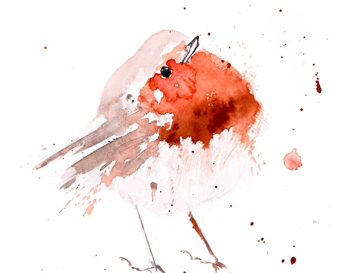 Fat Robin Red Breast No.4 - Hand Signed limited edition Print of my Original Watercolour Painting of a Robin -  Birds Wall Art Nursery Art