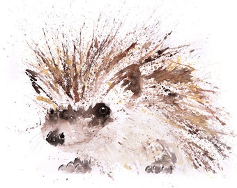 Mini Hedgehog - Limited Edition Signed Print of my original watercolour painting of a baby Hedgehog - Decorative wall art fine art print