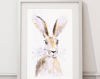 Hare Watercolour Painting - Signed Limited Edition Print of my Hare Watercolor Painting. Hare Wall Art- Wildlife Art- Hare Print-