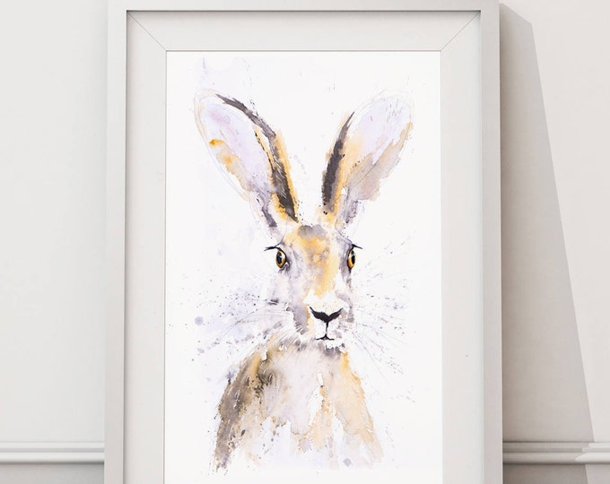 Hare Watercolour Painting - Signed Limited Edition Print of my Hare Watercolor Painting. Hare Living Room Art- Wildlife Art- Hare Print-