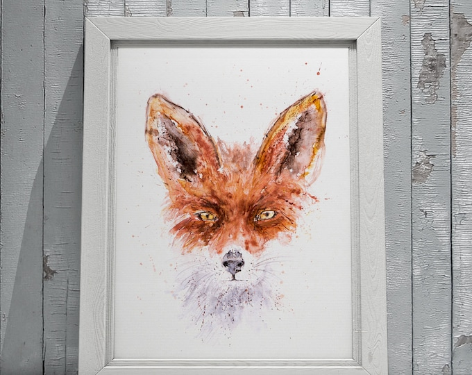Fox Watercolor Painting - Fox Wall Art watercolour  Hand Signed Numbered Dated and Embossed Limited Edition Print of my Original painting