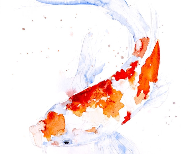 Koi Painting - Hand Signed Dated Numbered and Embossed Limited Edition Print - Koi watercolour Painting Koi Watercolour Wall Art