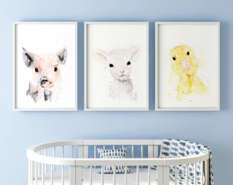 Baby Duckling Piglet Lamb Limited Edition Watercolour PrintS, Nursery Decor, Wall Art, Watercolour Paintings Cute Print