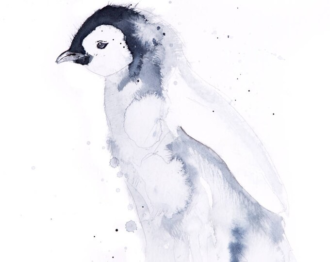 Mini Penguin  - Limited Edition Signed Print of my original watercolour painting of a Baby Penguin - Decorative wall art fine art print