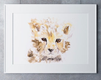 Baby Cheetah Watercolor Watercolour Painting  Wall Art  Hand Signed, Numbered, Dated and Embossed Limited Edition Print Cheetah Painting