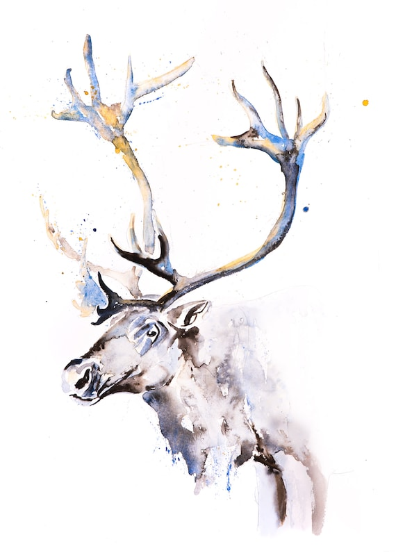 Reindeer Painting Watercolour Painting No2 - Hand Signed Dated Numbered Embossed Limited Edition Print of the Original Painting Animal Art