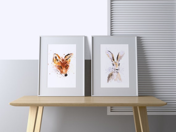 Fox and Hare Prints - Signed Limited Edition Prints of my original Abstract Watercolour Painting of a Fox and a Hare