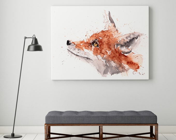 For Fox Sake Canvas print - Hand Signed Canvas Print of original Watercolour Painting Watercolor Painting of a Fox