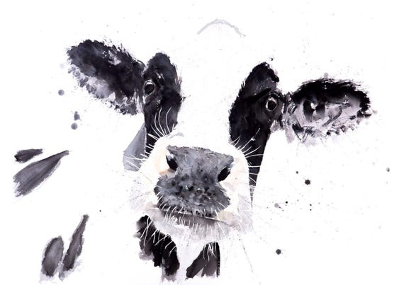 Cow no.3 Wall Art - Signed Limited Edition Print of my original watercolour painting of a cow