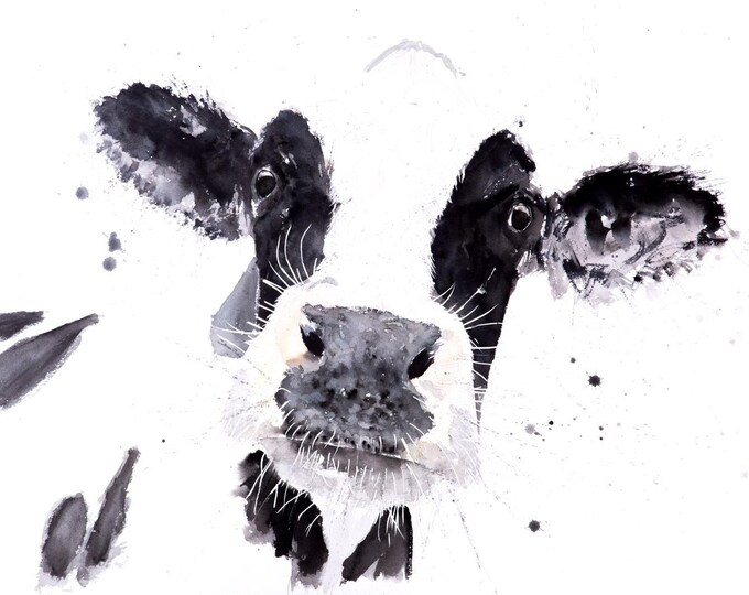 Cow no.3 Wall Art - Signed Limited Edition Print of my original watercolour painting of a cow. Modern Living Room Art