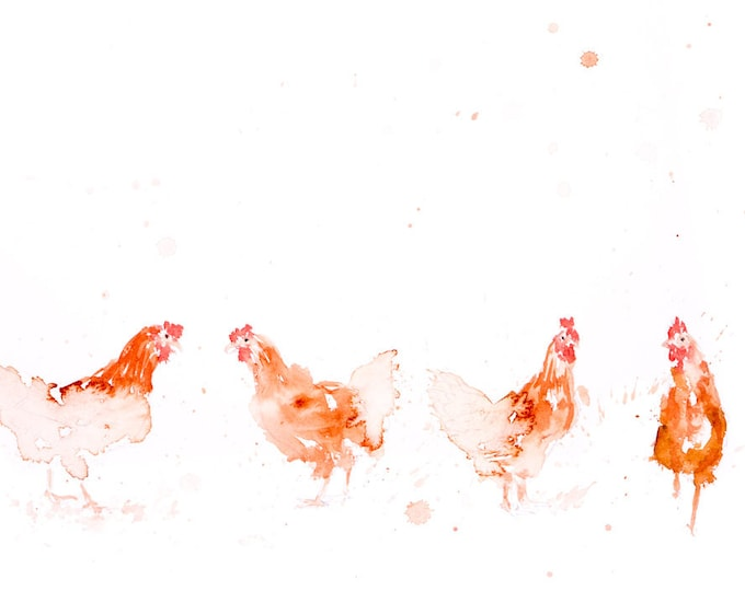 Row of Chickens - Signed Print of my original watercolour painting