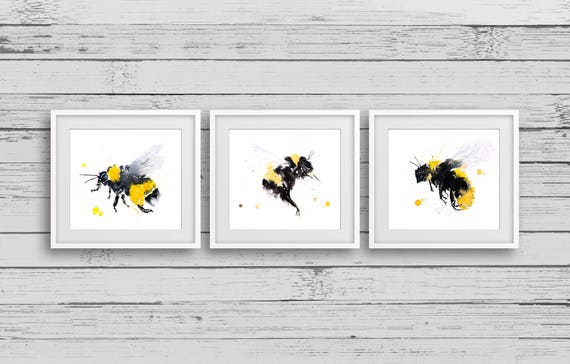 3 Bumble Prints- Signed limited edition prints of my original watercolour paintings of Bumble bees
