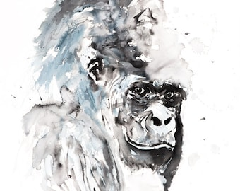 Gorilla Watercolor Painting Watercolour - Hand Signed Dated Numbered and Embossed Limited Edition Print of my Original Gorilla Painting Art