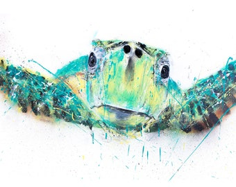 Turtle Spray Paint Painting - Hand Signed Limited Print of my Original Spray Can Turtle Painting