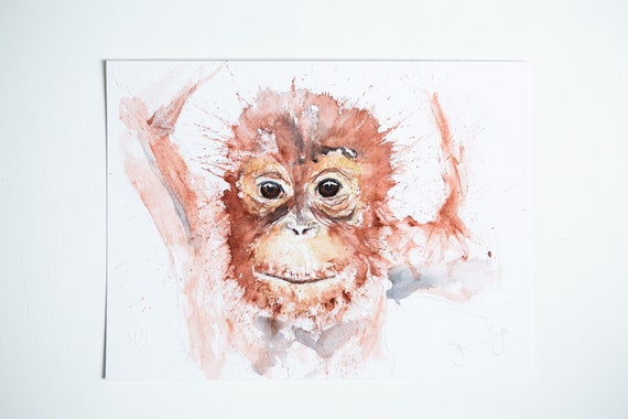 "Orangutang Painting - Original Watercolour Painting - Watercolour Painting  ""Mini Orangutang ""  Original  Watercolour Painting by Syman Kaye"