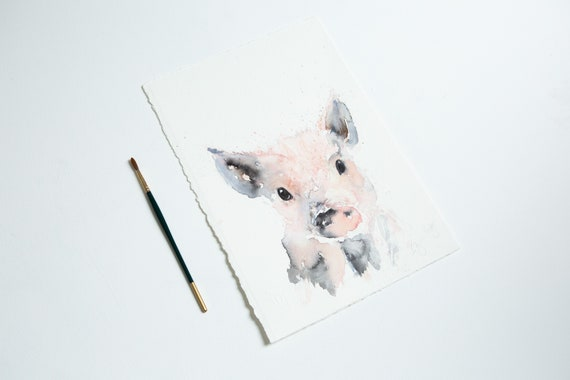 Piglet Original Watercolour Painting Farm Animal Abstract Modern Pig Water Colour Painting Wall Decor by Syman Kaye