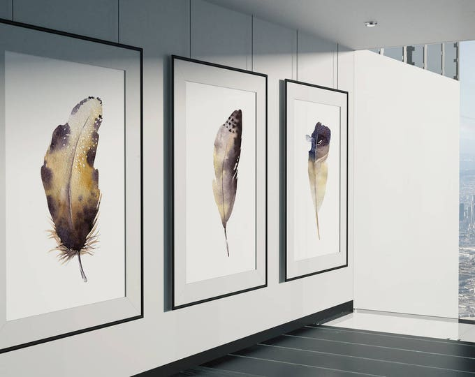 3 Feather Fine Art Prints on Watercolour Paper - Fine Art Prints of Feathers No.1, No.2 and No.4 Watercolor Paintings