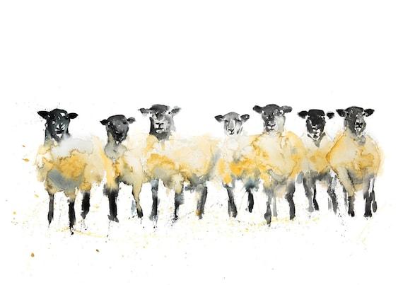 Sheep Watercolor Painting Watercolour Wall Art No.1 - Signed Limited Edition Print of my Original Watercolor Painting Sheep Wall Art