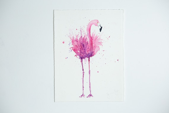 Original Flamingo Painting - Original Watercolour Painting Original Flamingo Wall Art Pink Flamingo Watercolour Painting by Syman Kaye