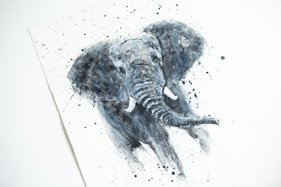 "Elephant Painting - Original - Watercolour Painting  ""Elephant No. 2""  Original Elephant Wall Art  Watercolour Painting by Syman Kaye"