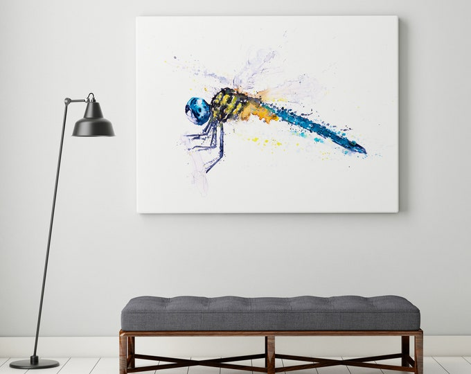 Dragonfly Canvas print - Hand signed Abstract Canvas Print of original Watercolour Painting Watercolor Painting of a Dragonfly