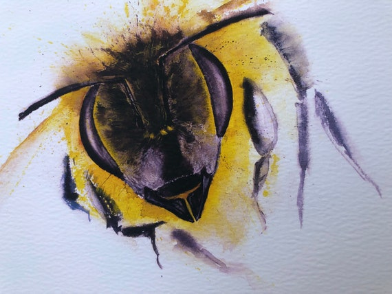 "Original Honey Bee Painting- Original Watercolour Painting of a Bee by Syman Kaye - ""Incoming"" Original Painting Signed and Embossed"