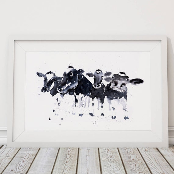 Row of Cows Painting - Signed limited Edition Print of my original watercolour cow painting.