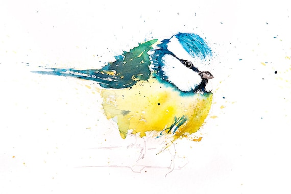 Blue Tit No.10 - Hand Signed Limited Edition Print of my Original Watercolour Painting of a Blue Tit Bird
