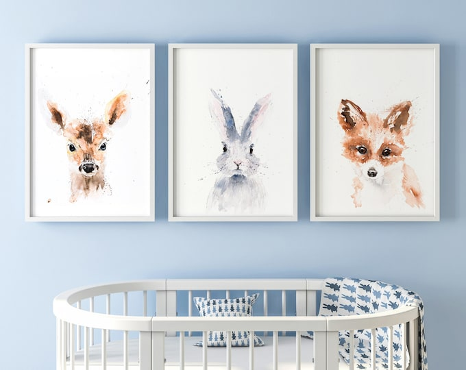 The Mini  Collection - 3 Signed Limited Edition Prints of my Original Water Colour Paintings of a Fox a Bunny and A Fawn - Wall Art