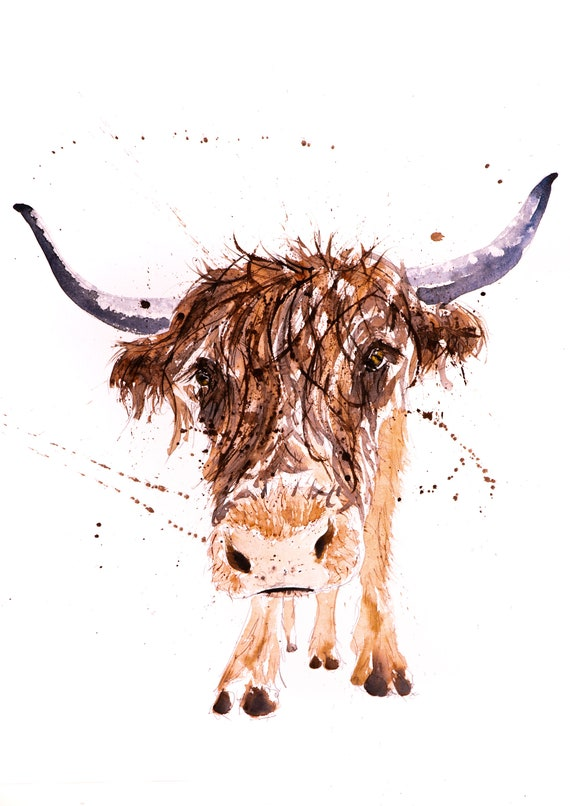 "Highland Cow Painting Watercolour Painting  ""Highland Cow No2 "" Signed Limited Edition Print of my Original Cattle Watercolour Painting"